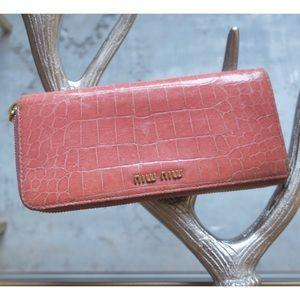Miu Miu Salmon Pink Croc Leather ZIP Wallet